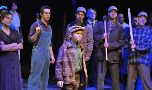 The Metropolitan Ensemble Theatre employed a large, mainly non-Equity cast. Frome left, Jessica Franz, Kyle Dyck, Whitaker Hoar (foreground), Donovan Kidd, Jordan Fox and Alan Tilson.